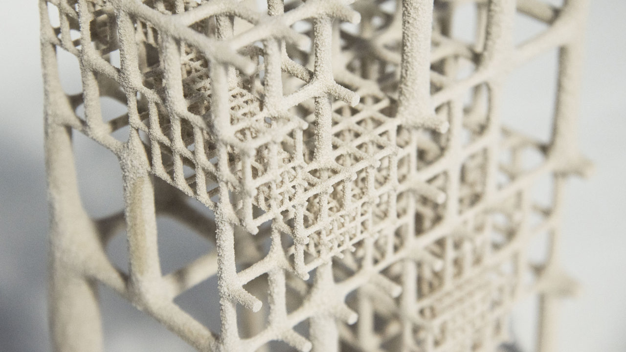 3D printed octree lattice structure with varying material distribution (Raphael Pastrana, Francisco Regalado)
